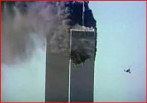 United Flight 175 approaching WTC2 target