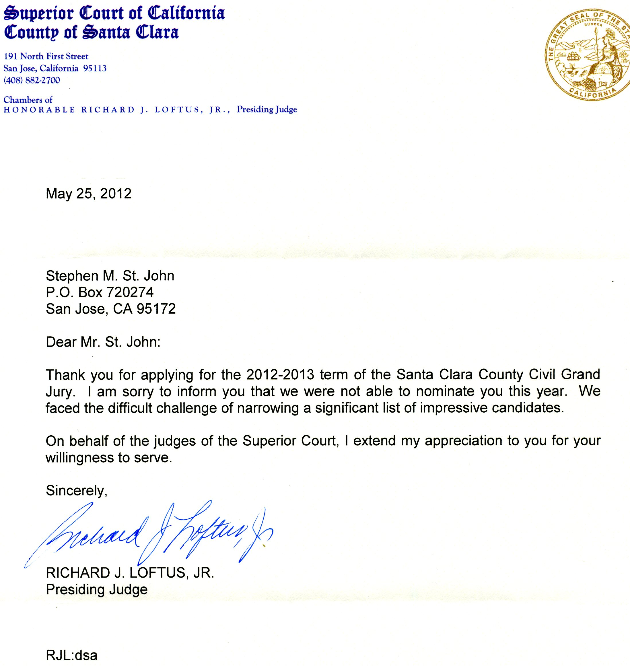 Letter from Judge Loftus